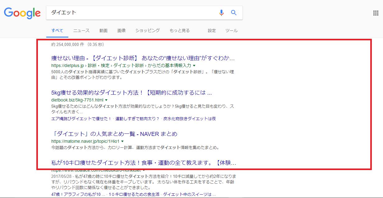 ダイエットによる自然検索結果の例・SEO